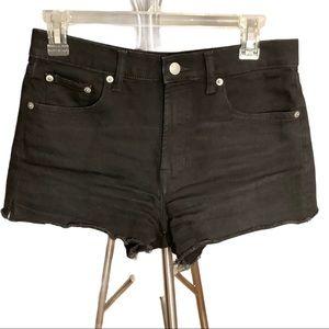 Gap high rise black denim shorts 27 petite